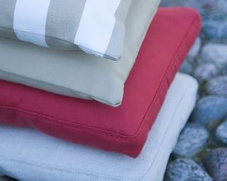 Fabric cushions close up
