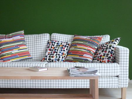 Hello Bemz team, I wanted to share with you our Karlstad sofa in a Classic Ruta cover. I also sew some pillows from the newest IKEA patterns and I think it ...