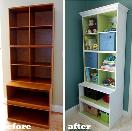 It Is Amazing How Beautiful This Laminate Bookshelf Looks After Painting White On The Outside Lovely Contrasting Green Inside And Adding Some