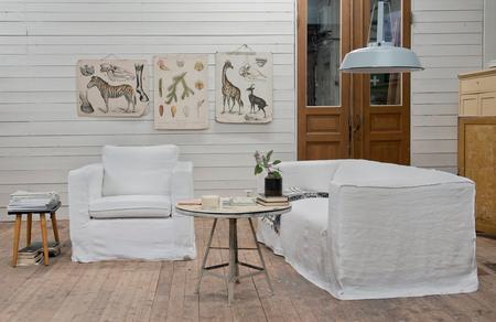 Karlanda armchair and Klippan sofa in Absolute White