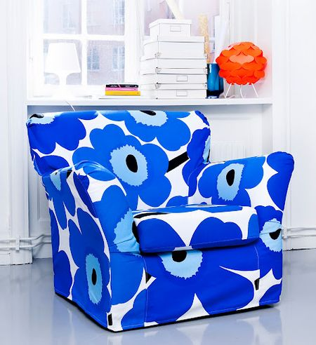 Tomelilla armchair cover by Bemz in Unikko Blue from Marimekko