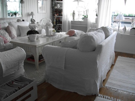 Ektorp sofas in Loose Fit Country Absolute White from Marianne