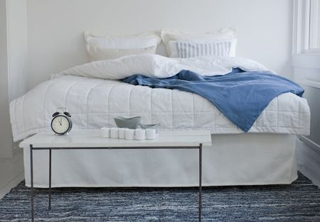 Straight bed skirt in Soft White Belgian Linen Blend from Bemz. Photo via Bemz.