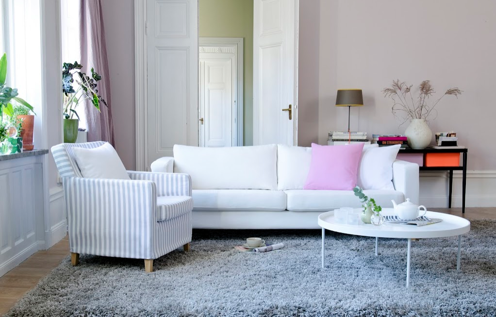 Sofa Cover In Absolute White And Armchair Gotland Stripe Silver Grey The Cushion Covers Are Candy Pink
