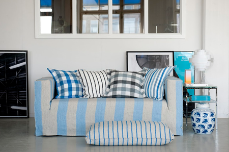 Klippan 2-seat sofa in Lapis - Brera Largo, cushion covers in Cobalt - Brera Quadretto & Cloud - Brera,  Quadretto, & Noir - Brera Fino & Cobalt - Brera Rigato. All Loose Fit Urban, all Designers Guild by Bemz