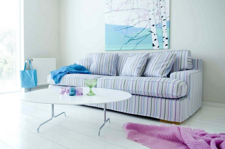 Goteborg in Eggshell Blue Prisma Stripe