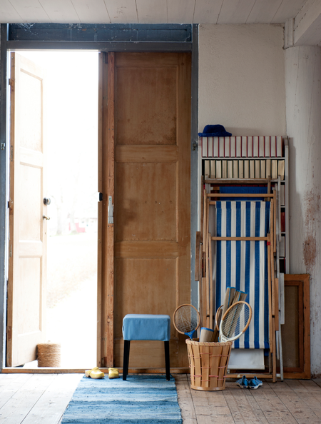 Nils stool with a Light Denim Blue cover