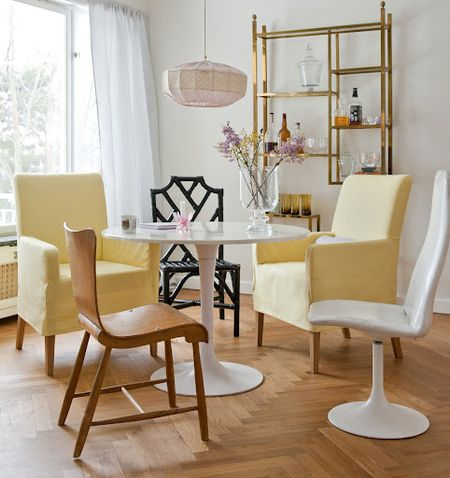 Vanilla Yellow Belgian Linen cover from Bemz for Henriksdal chair with armrests