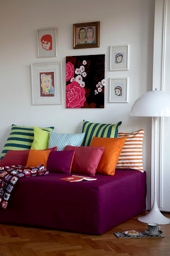 Daybed cover in Fuchsia Panama Cotton from Bemz