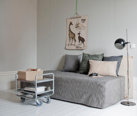 Daybed cover in textured Sybary Light Grey and cushion covers in Sand Beige and Graphite Grey