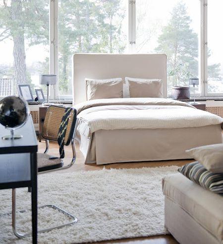 Bemz cover for Vanvik bed frame in Sand Beige Raffia