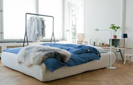 Bemz cover for Grimen bed frame in Unbleached Belgian Linen Blend