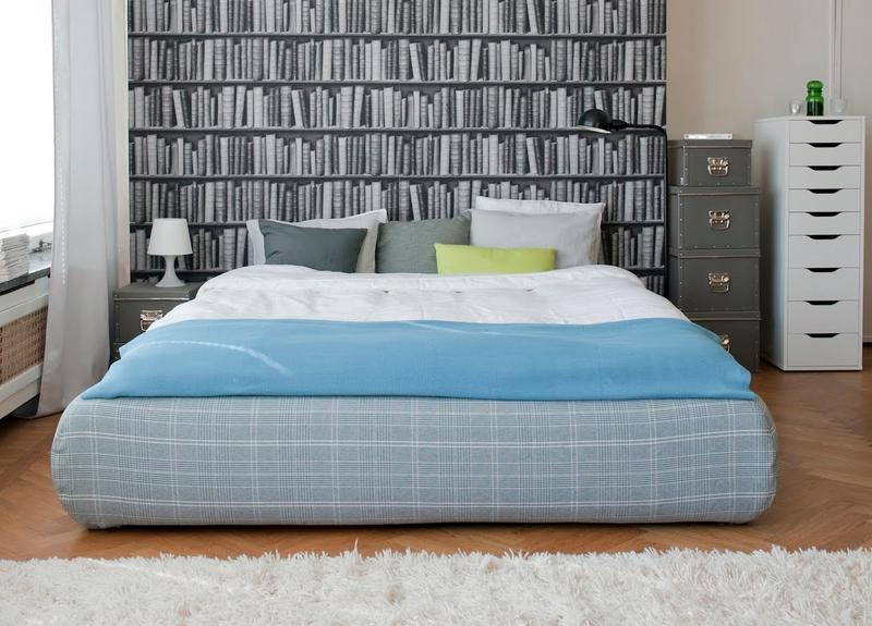 Grimen bed frame cover in Frescati Plaid Grey