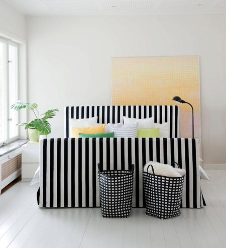 Florö bed frame cover in Stockholm Stripe Jet Black