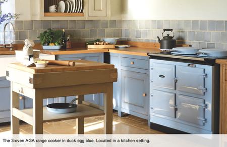 AGA 3-oven in duck egg blue