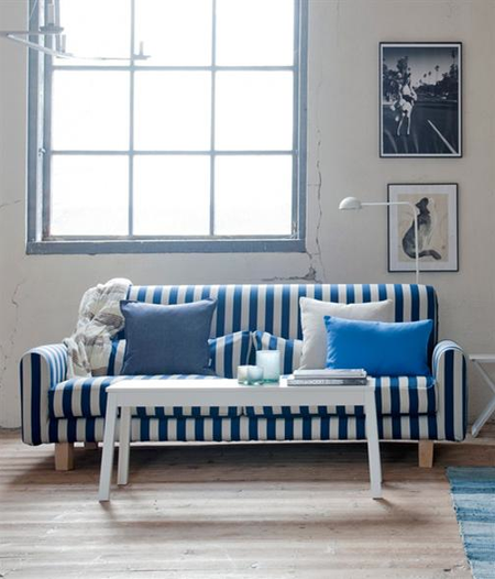 Nikkala sofa in Stockholm Stripe Blue:Sand