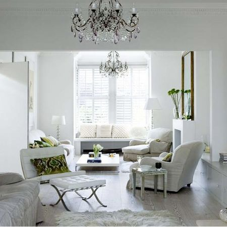 Tranquil white living room. Photo via House to Home.