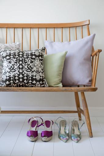 Cushions in Gustavian Flowers Dusty Rose, New Baroque Chocolate Brown, Tea Green Belgian Linen Blend, Lavender Belgian Linen Blend