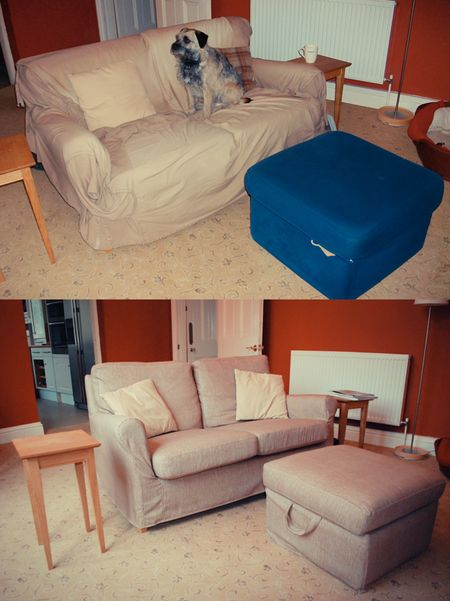 Angby Sofa and Tomelilla lookalive footstool before and after in Toronto Ticking Chestnut covers from Bemz