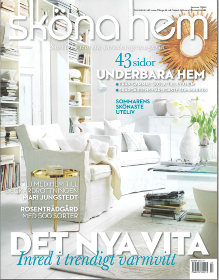 Sköna Hem magazine with Bemz Loose Fit Urban covers in Absolute White Rosendal Pure Washed Linen