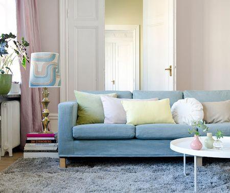 Karlanda 3-seat sofa cover in Tegnér Melange Mineral Blue