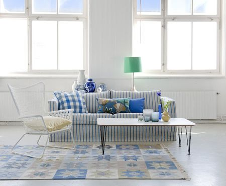 Karlstad sofa with Loose Fit Urban cover in Cobalt Brera Fino by Designers Guild at Bemz, with cushion covers in Cobalt Brera Quadretto and True Blue Panama Cotton