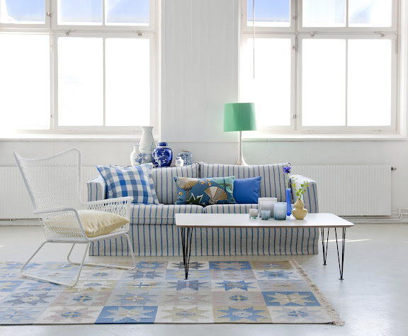 Bemz cover for Karlstad 3 seater sofa, Loose Fit Urban in Cobalt Brera Fino with cushion covers in Cobalt Brera Quadretto and True Blue Panama Cotton