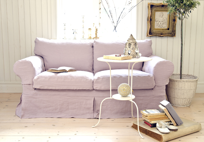 Bemz cover for Ektorp 2 seater sofa in Loose Fit Country style Lavender Rosendal Pure Washed Linen