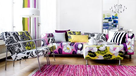 Bemz sofa and chair covers in Designers Guild Flamingo Park and Coconut Grove