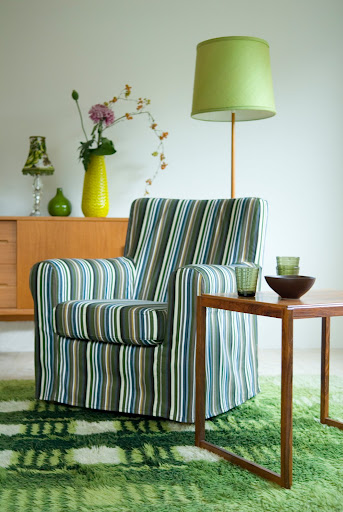 Bemz cover for Jennylund armchair in Moss Green Prisma Stripe