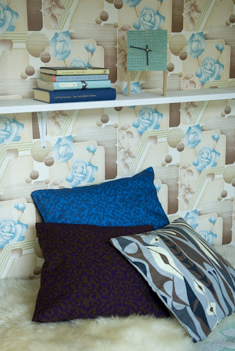 Bemz cushion covers in Blue on Blue Kaleido, Brown on Plum Kaleido by Viola Gråsten and Ash Brown Bulbous by Stig Lindberg