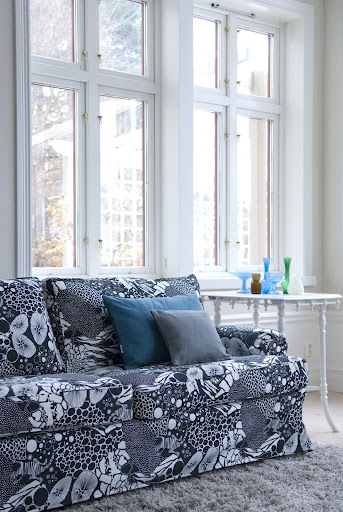 Bemz cover for Ekeskog 3 seater sofa in Black&White Salamander by Bantie and Bemz cushion covers in Teal Blue Tegnér Blue, Graphite Grey Chenille