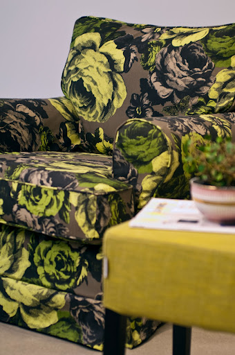 Bemz cover for Barkaby armchair in Green Baronessa by Lisa Bengtsson.
