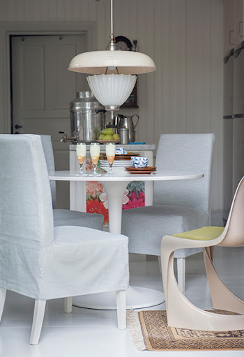 Bemz covers for Henriksdal chairs in Silver Grey Tegnér Melange, medium long skirt