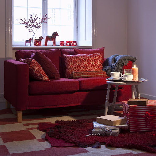 Bemz cover for Karlanda  sofa in Crimson Red Raffia, Bemz cushion covers in Real Red Urban Tapestry