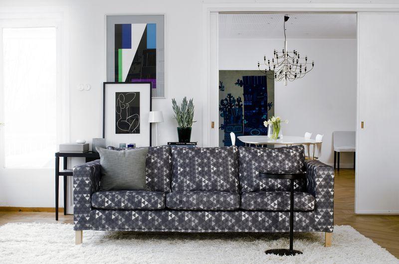 Bemz cover for Karlanda sofa, in Trianglar, design Viola Gråsten, by Bemz