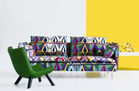 Bemz cover for Söderhamn sofa, fabric: Comedin Går, design Stellan Mörner, from Bemz