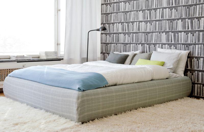 Bemz cover for Grimen bed frame in Grey Frescati Plaid