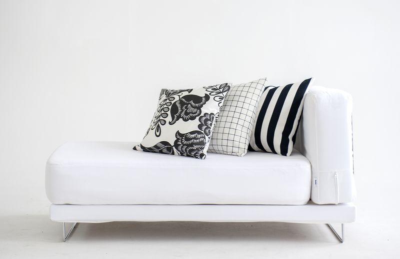 Bemz cushion covers in Jet Black Stockholm Stripe, Black Classic Ruta, Black&White Coconut Grove