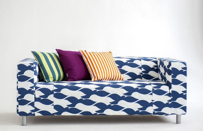 Bemz cushion covers in Panama Cotton, Daiquiri Green Stockholm Stripe, Mandarin Orange Gotland Stripe