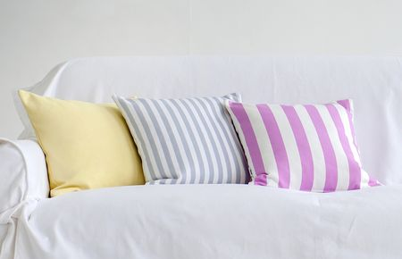 Bemz cushion covers in Vanilla Yellow Belgian Linen Blend, Candy Pink Stockholm Stripe, Silver Grey Gotland Stripe