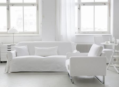 Bemz Multi Fit cover 3-seater sofa, fabric: Absolute White Panama Cotton.