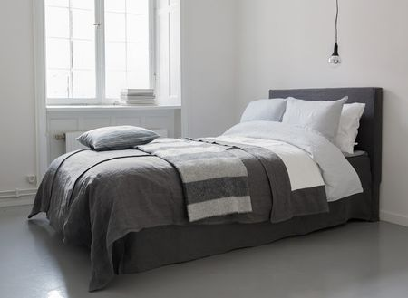Bemz bedspread, Loose Fit, Bemz cover for Abelvär headboard,  Bemz Loose fit Urban bedskirt, all in Medium Grey Rosendal Pure Washed Linen