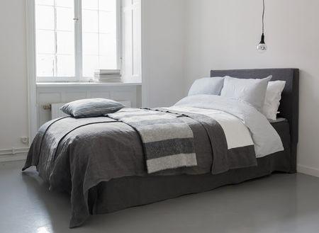 Bemz bedspread, Loose Fit, Bemz cover for Abelvär headboard,  Bemz Loose fit Urban bedskirt, all in Medium Grey Rosendal Pure Washed Linen