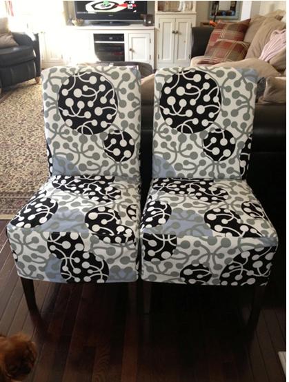 Henriksdal chairs in Grey/Black Kirsikka, design Marimekko, for the Bemz Designer Collection