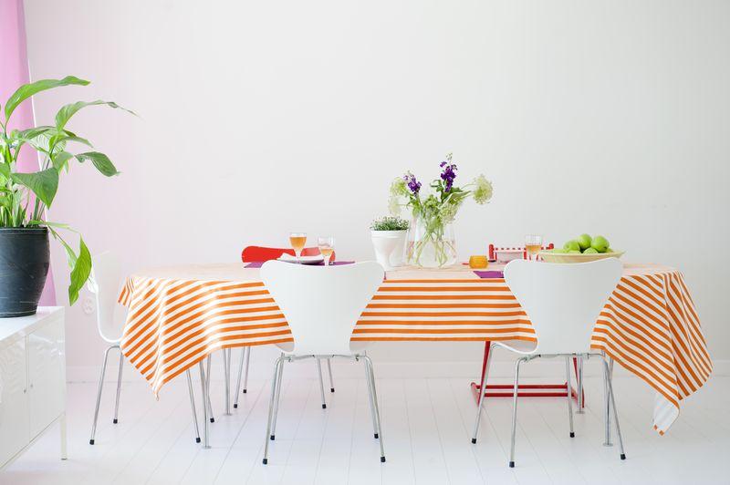 Bemz fabric per meter in Mandarin Orange Gotland Stripe