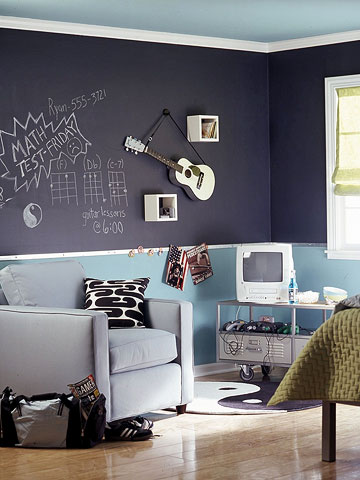 Chalkboard- teen room-wall-slate-doodle-wall-makeover The Style Files