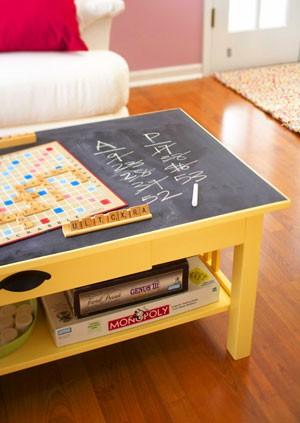 Blackboard coffee table top idea via Inspiration for Home