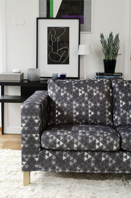 Bemz cover for Karlanda sofa, fabric: Trianglar, design Viola Gråsten, from Bemz