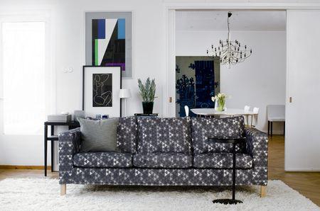 Bemz cover for Karlanda sofa, fabric Trianglar, design Viola Gråsten, by Bemz
